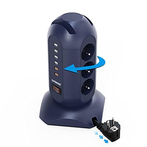 SAFEMORE Regleta de 9 enchufes (2500 W/10 A), 6 enchufes USB (3,4 A) con protección contra sobretensiones y sobrecarga, 1,8 m, cable retráctil y soporte para teléfono para oficina