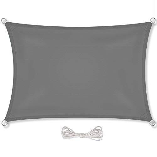 CelinaSun Sonnensegel inkl Befestigungsseile PES Polyester wasserabweisend imprägniert Rechteck 3,5 x 5 m anthrazit