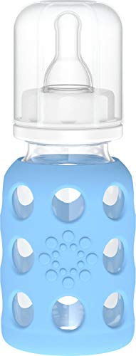 Lifefactory 4-Ounce BPA-Free Glass Baby Bottle with Protective Silicone Sleeve and Stage 1 Nipple, Sky Blue (LF110000C4)