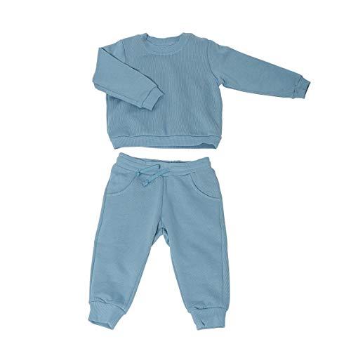 Set Baby-Pullover & Baby-Hose | 100% Bio-Baumwolle | Anti-allergisch | Weich & bequem | Ideal für empfindliche Baby-Haut | GOTS-Zertifiziert | Set Kinder-Pullover & Kinder-Hose | Fair-Trade, 68, Blau