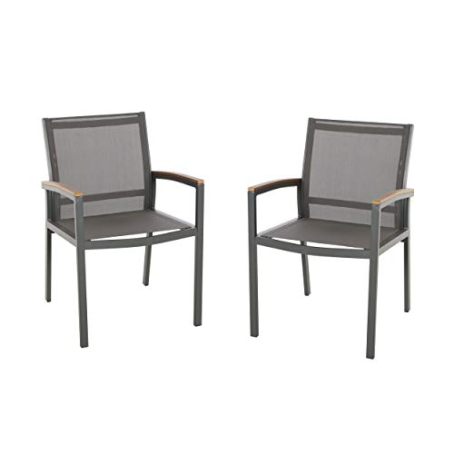 Christopher Knight Home 305223 Emma Outdoor Mesh and Aluminum Frame Dining Chair (Set of 2), Gray