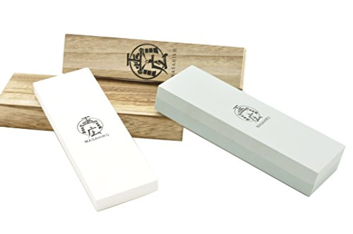 Handmade Sword - Masahiro Double Side Whetstone, Rough /400, Medium /1000, Fine /3000,2pcs Swords Blade Sharpening Stone
