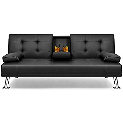 Flamaker Futon Sofa Bed Modern Faux Leather Couch, Convertible Folding Recliner Lounge Futon Couch for Living Room with 2 Cup Holders with Armrest