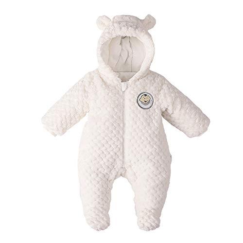 DDY - Mono de nieve para bebé con capucha y cremallera Blan