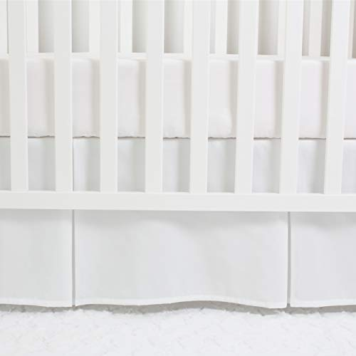 CaSaJa Classic Microfiber Crib Skirt with 2 Pleated Workmanship, Soft Breathable Dust Ruffle Fits Standard Crib and Toddler Bed, Pure White Color for Baby Boys and Girls, 14 inches Drop, White