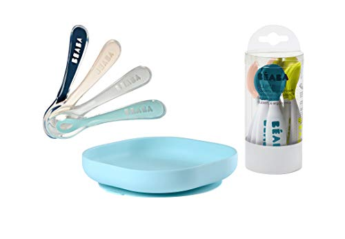 BEABA Second Stage Silicone Spoons for Self Feeding Babies, Silicone Suction Plate + Second Stage Ergonomic Baby Cutlery