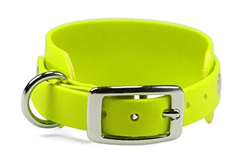 LENNIE BioThane Windhundhalsband, 50 mm breit, 25 mm Dornschnalle, Größe 34-40 cm, Neon-Gelb, Aufdruck möglich