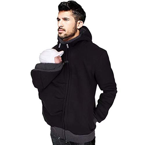 M-Brave Men's Kangaroo Hoodie for Dad and Baby Carrier Coat Baby Carriers Sweatshirt Pullover, One Color, X-Large