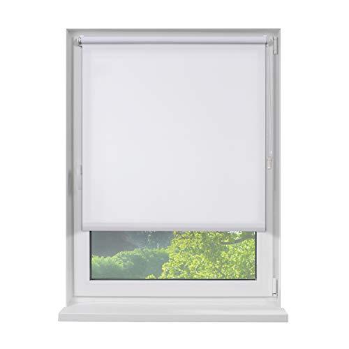 Fensterdecor Klemmfix Mini Sichtschutz-Rollo, Blickschutz-Rollo zum Klemmen, Tageslicht-Rollo ohne Bohren in Weiß, lichtdurchlässig und Blickdicht, 60 x 120 cm