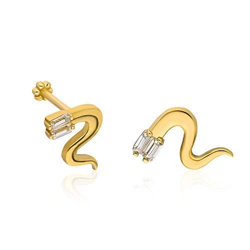 14K oro sólido snake piercing, piercing minimalista Tragus, piercing de perno de oro, perforación de oreja de perno, pendiente de serpiente, piercing de serpiente de diamante (6, Oro amarillo)