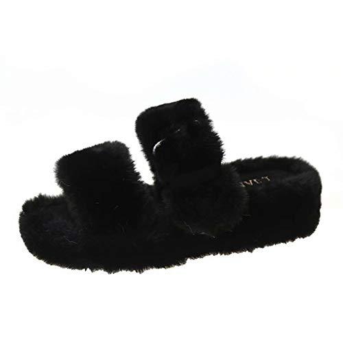 CCXSSH Cross Band Fleece Fluffy Fuzzy Plush House Shoes for Women Slippers Black
