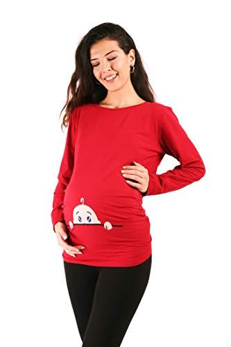 Neugieriges Baby - Lustige witzige süße Umstandsmode Umstandsshirt mit Motiv für die Schwangerschaft Schwangerschaftsshirt, Langarm (Weinrot, Medium)