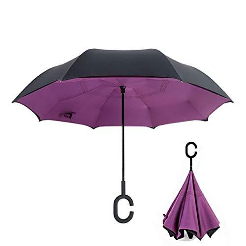 PPGG paraplu's omgekeerde omgekeerde vouwparaplu dubbele laag ondoorzichtige paraplu's doek uv bescherming winddicht regendicht voor vrouwen paraplu's paars