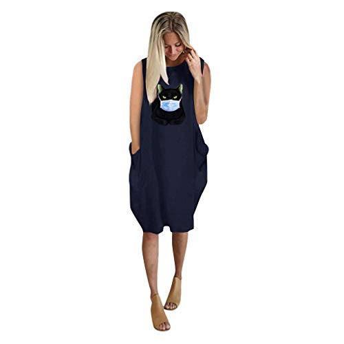 TWIFER Dresses for Women Casual Summer, Plus Size Sleeveless Mini Dress Ladies Oversized Loose Printed Dress with Pocket Navy