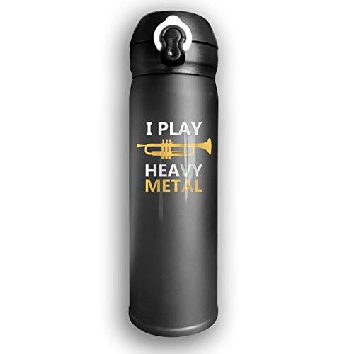 Vakuumisolierte Wasserflasche I Play Heavy Metal Edelstahl auslaufsicher...