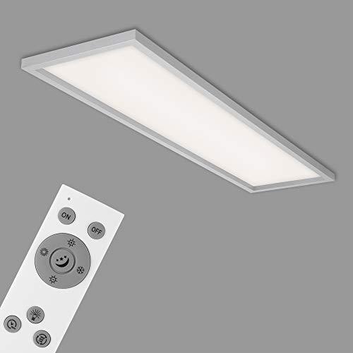 Briloner Leuchten - LED Deckenleuchte, Deckenlampe dimmbar, inkl. Fernbedienung, Farbtemperatursteuerung, Nachtlicht, Timer, 36 Watt, 3.800 Lumen, Chrom-Matt, 1.195x295x80mm (LxBxH), 7372-014