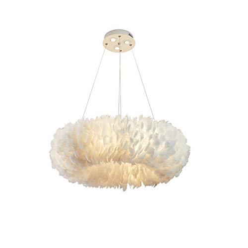 Weißer Federleuchter, Runder Federleuchter, Wohnzimmer Schlafzimmer Ringfeder Licht Kreative Dekoration