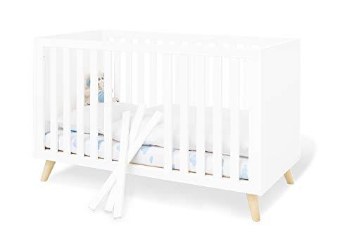 Pinolino Kinderbett Move, mit Lattenrost und Umbauseiten, für 70 x 140 cm Matratzen, für Babys und Kleinkinder, edelmatt: Uni, weiß und massiv, Ahorn, klar lackiert