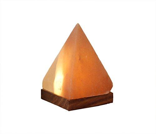 Himalaya Sel Dreams – beleuchteter Cristal Pyramide avec Socle en Bois, avec elektrik USB LED, USB pour Ordinateur et Ordinateur Portable