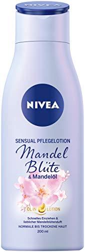 NIVEA Sensual Pflegelotion Mandelblüte & Mandelöl, Body Lotion mit lieblichem Mandelblüten-Duft, schnell einziehende Lotion spendet 24h Feuchtigkeit
