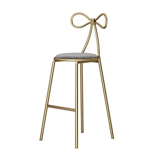 QTQZDD barkruk barkruk Nordic barkruk suède kussen boog rugleuning goud metalen houder barkruk creatieve mode koffiestoel (kleur: grijs) 2 2