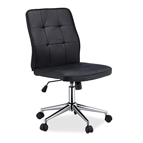 Relaxdays Bürostuhl höhenverstellbar, ergonomisch, Rollen, Gasdruckfeder, Kunstleder, 100 kg, Schreibtischstuhl, schwarz