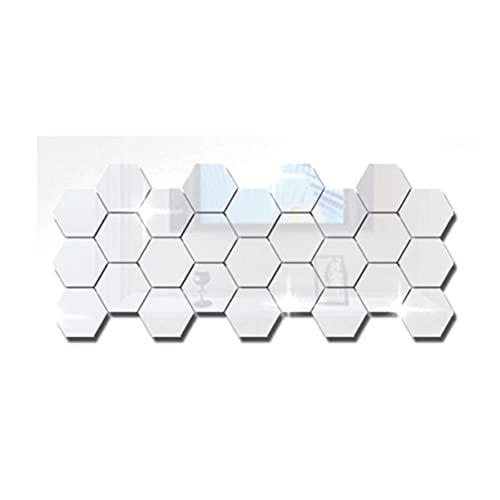 AnXiongStore 36 Piezas extraíble acrílico Etiqueta de la Pared Hexagonal Adhesivo Espejo azulejo decoración de la Pared Sala de Estar Dormitorio Etiqueta de la Pared