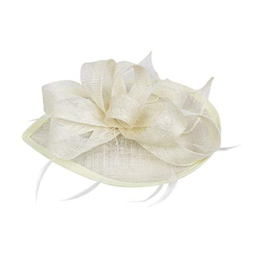 Meisjes Vintage Haaraccessoires Fascinator Hoed, Bruiloft Feather Hoed Vilt Hoed voor Meisjes (Beige) voor Mode Retro Elegante Dames