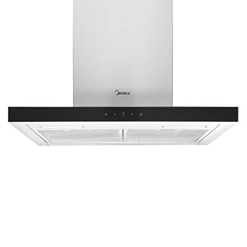 Midea Campana extractora de pared HW7.62, 60 cm, con control por gestos, 600 m³/h, de acero inoxidable con cristal, 4 niveles, filtro de grasa lavable, filtro de carbón activo, 2 luces LED