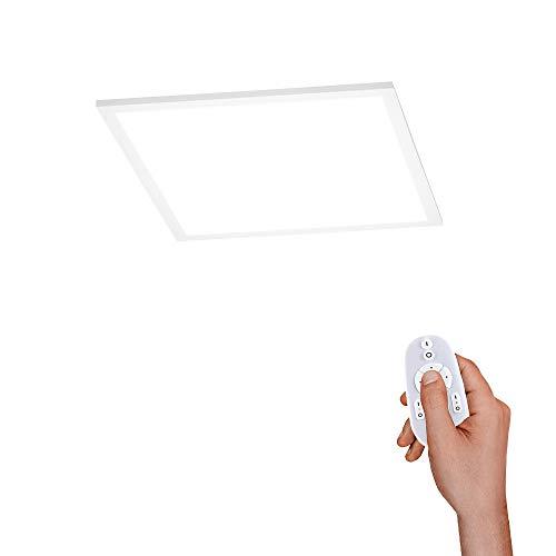 LED Panel flach, 45x45, dimmbare Decken-Lampe mit indirekter Deckenbeleuchtung | Farbtemperatur mit Fernbedienung einstellbar, warmweiss - kaltweiss | Decken-Leuchte für Wohnzimmer, Küche und Bad