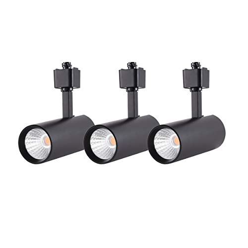 mirrea 3 Pack 16.5W Dimmable LED Track Lighting Heads Compatible with Single Circuit H Type Rail Ceiling Spotlight for Accent Task Wall Art Exhibition Lighting 90 CRI 3000K Warm White 24° Black Finish