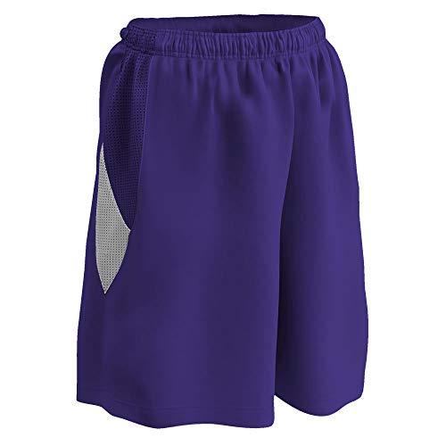 Champro Mädchen Bbs15gpuwl Post Up wendbare Polyester-Basketball-Shorts, Lila/Weiß, Large