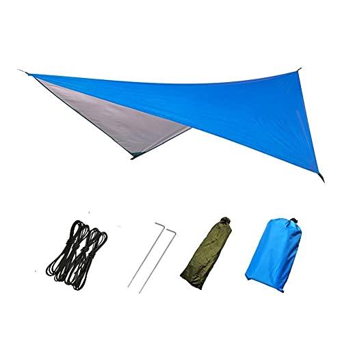 YANGYUAN Toldo impermeable para múltiples personas, utilizado como toldo al aire libre, tienda de campaña, hamaca, camping (azul y negro) (color azul)