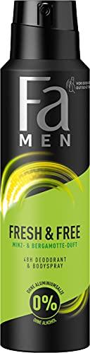 Fa Men Deodorant & Bodyspray Fresh & Free Minze & Bergamotte ohne Alkohol, ohne Aluminiumsalze, 48h Schutz, 150 ml
