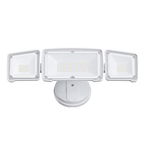 GLORIOUS-LITE Dusk to Dawn Security Light - 3500LM 35W Flood Light Outdoor, IP65 Waterproof, ETL Listed, 5500K White Light, Adjustable 3 Heads Wall Exterior Light for Backyard, Patio(No Motion Sensor)
