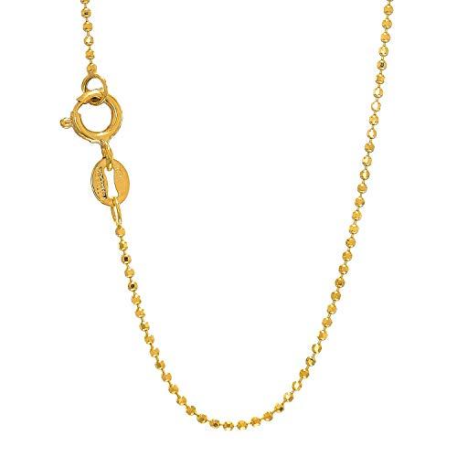 Jewelstop, anello a molla in oro massiccio 14 ct, giallo o bianco, 1 mm, catena con perline diamantate, 40,6 cm, 45,7 cm, 50,8 cm e Oro giallo, cod. 43212-53281
