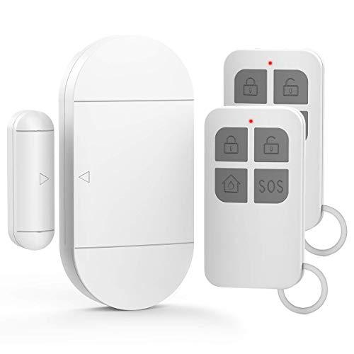 GuDoQi Türalarm Fensteralarm, 2 Fernbedienungen, 130 dB Sirene, 4 Betriebsarten, Einbruchalarm, Alarmsystem Tür und Fenster für Zuhause, Büro, Kindersicherheit