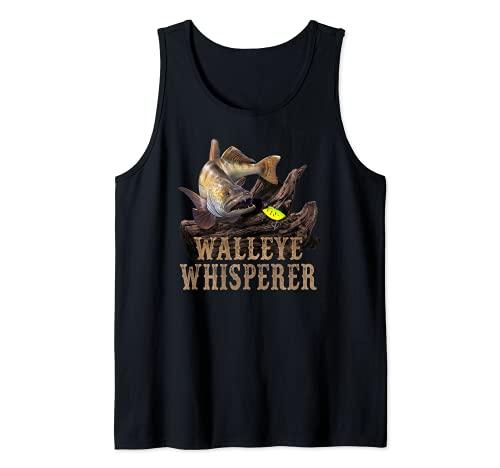 Walleye grande con el dibujo del señuelo de la pesca: Walleye Whisperer Camiseta sin Mangas