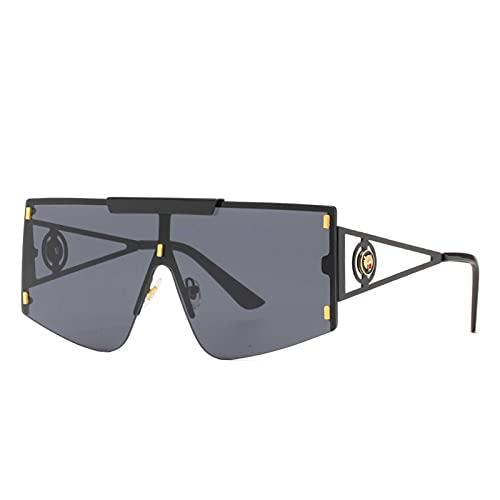 Gafas de Sol, Gafas de Sol Personalizadas, Gafas de Sol de una Pieza, Cajas de Regalo (Size : Black Frame Gray Film)
