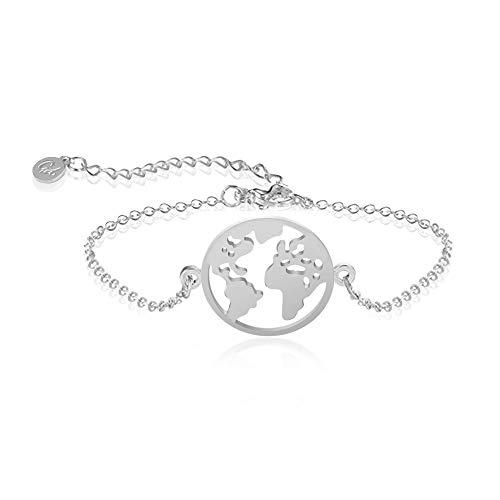 Good.Designs ® Damen Armkette mit Weltkugel Anhänger (verstellbar) Silber silbernes Silver Armkettchen Armschmuck Damenschmuck Kette silberfarben Freundschaftsarmband Globusarmkette Weltkette