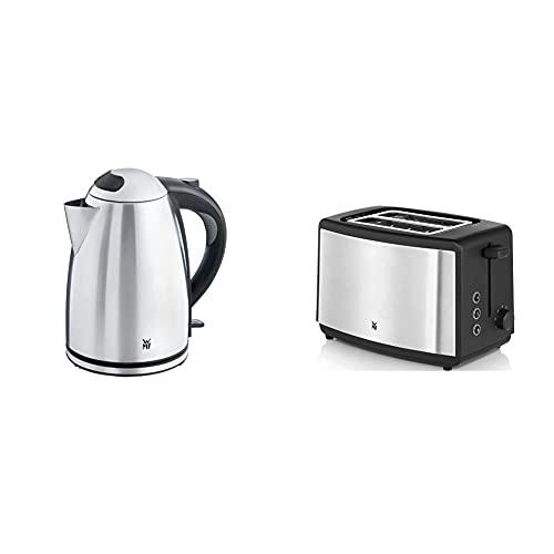 WMF Stelio Wasserkocher Edelstahl 1,7l, elektrischer Wasserkocher mit Kalkfilter, 2400 W & Bueno Edition Toaster Edelstahl, Doppelschlitz Toaster mit Brötchenaufsatz,2 Scheiben,7 Bräunungsstufen,800 W