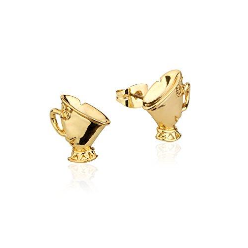 Pendientes chapados en oro, diseño de taza de té Chip de la Bella y la Bestia, de Disney Couture