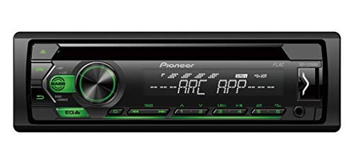 Pioneer DEH-S120UBG, 1DIN RDS-autoradio met groene toetsverlichting, display wit, Android-ondersteuning, 5-bands equalizer, CD, MP3, USB, AUX-ingang, ARC-app