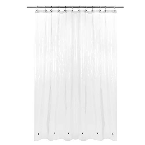 """X-Long Shower Curtain Liner with 6 Magnets - 72"""" x 92"""", Waterproof PEVA Shower Liner for Bathroom, PVC Free, Metal Grommets - Clear, 72X92"""