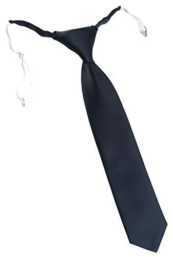 TigerTie Designer Security Sicherheits Krawatte in anthrazit einfarbig Uni - vorgebunden mit Gummizug in weiß
