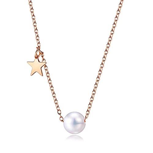 HHW Colgante De Perlas De Temperamento para Damas, con Collar De Acero De Titanio Chapado En Oro Rosa De 15.7 Pulgadas, Joyería De Perlas De Concha De Estrella De Cinco Puntas