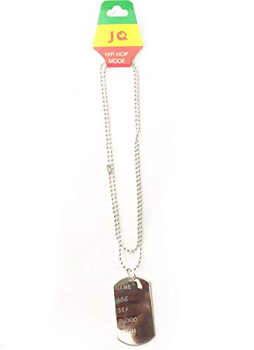 Silver Dog Tag Necklace for Soldier Army Veteran Fancy Dress Accessory