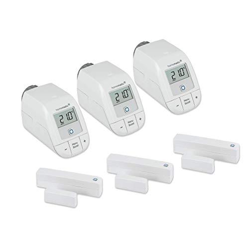 Homematic IP Set Heizen Easy Connect für 3 Heizkörper - 3 x elektronisches Heizkörperthermostat, 3 x Fensterkontakt. Funk Heizungssteuerung. Stand-Alone-Betrieb - Zum Smart Home erweiterbar