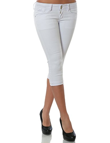 Damen Capri Jeanshose Kurze Sommerhose Push-Up Stretch DA 15547 Weiß 36 / S