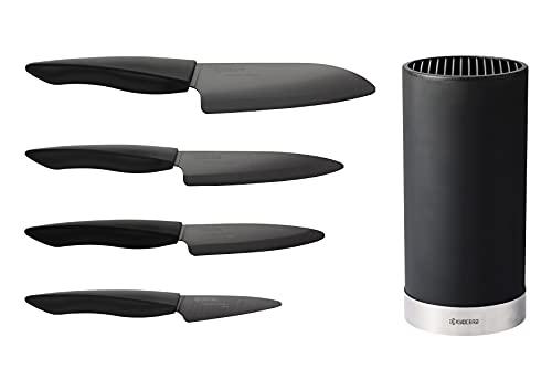 Kyocera Keramikmesserset mit SHIN BLACK Schälmesser, Allzweckmesser, Universalmesser und Santokumesser und rundem Messerblock für 8 Messer, Klinge aus schwarzer Zirkoniakeramik, KB-RD BK 4KN ZK EU